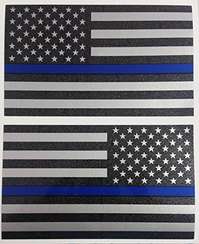 I Make DecalsTM Ghosted Subdued US Flag Decal with Thin Blue Line Stripe, 2-pack 3
