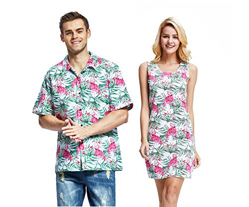 Couple Matching Hawaiian Luau Cruise Christmas Outfit Shirt Dress Santa Turquoise Men XL Women 2XL