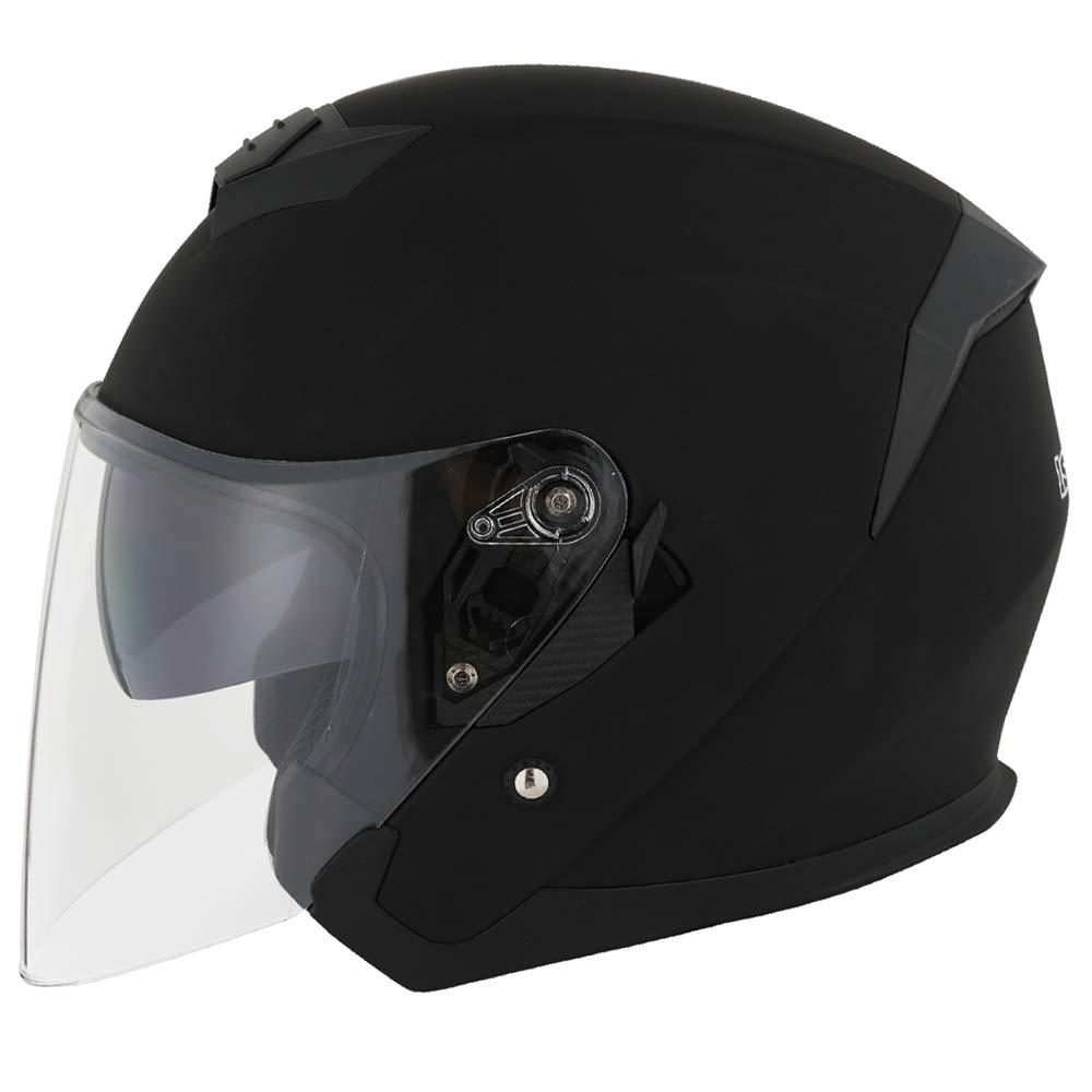 1STORM MOTORCYCLE OPEN FACE HELMET SCOOTER CLASSICAL KNIGHT BIKE DUAL LENS/SUN VISOR MATT BLACK by 1Storm
