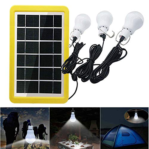 Solar Portable Smart Light Control Bulb Solar Panel Lamp USB Powered Rechargeable Lantern Lamps for Home Shed Barn Indoor Outdoor Emergency Hiking Tent Reading Camping (3 Bulbs With Light-Operated)
