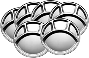 Khandekar Stainless Steel Round Dinner Plates with 4 Compartment, Cafeteria Mess Trays, Section Plates for Toddlers, Divided Food Plates - Silver, 11.5 inch, Pack of 6