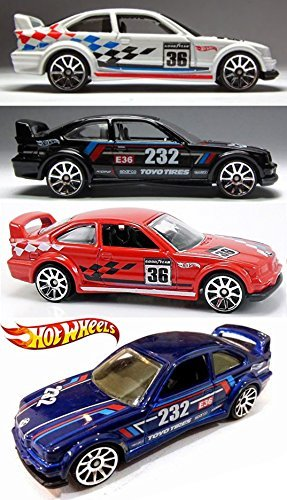 HW Racing BMW M Series 4 Car Set Hot Wheels #146 E36 M3 Race & # 169 2014 New Casting Red, White, Blue & Black Variants in PROTECTIVE - Agent In M Men Black