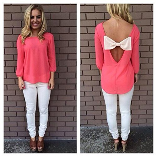 Tops Bowknot Camicetta T Maniche Donna 2 Minetom in shirt Lunghe Pink Indietro xRqgp0I