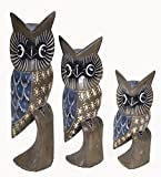 Hand Carved Wood Family of 3 BLUE AND GRAY Owls Decor Sculptures Design Review