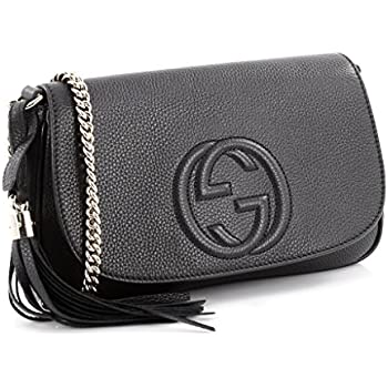 f6471281b7be Amazon.com: Gucci Soho Leather Flap Shoulder Bag Black Gold Tassel ...
