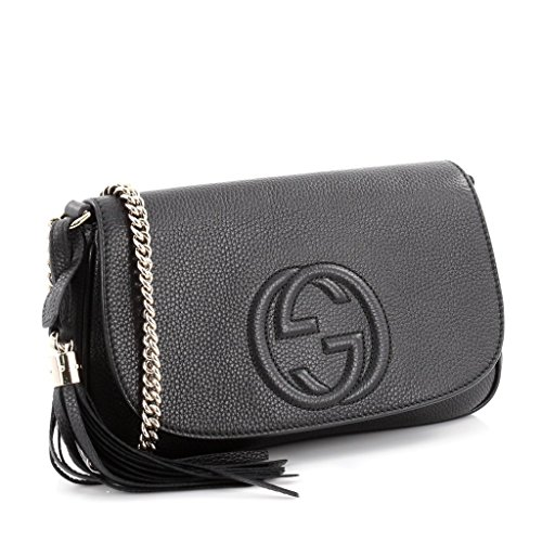 Gucci Soho Leather Flap Shoulder Bag Black Gold Tassel New Authentic (Hobo Leather Soho)