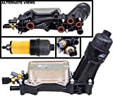 APDTY 133940 Engine Oil Filter Cooler Housing Assembly Complete Kit Includes Temp Sensors, Bypass Valve, Spring, Filter & Gaskets Fits All 2014-2017 Dodge Chrysler Jeep Models with 3.6L V6 Engine