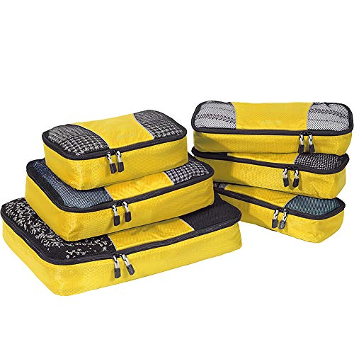 eBags Packing Cubes for Travel - 6pc Value Set - (Canary)