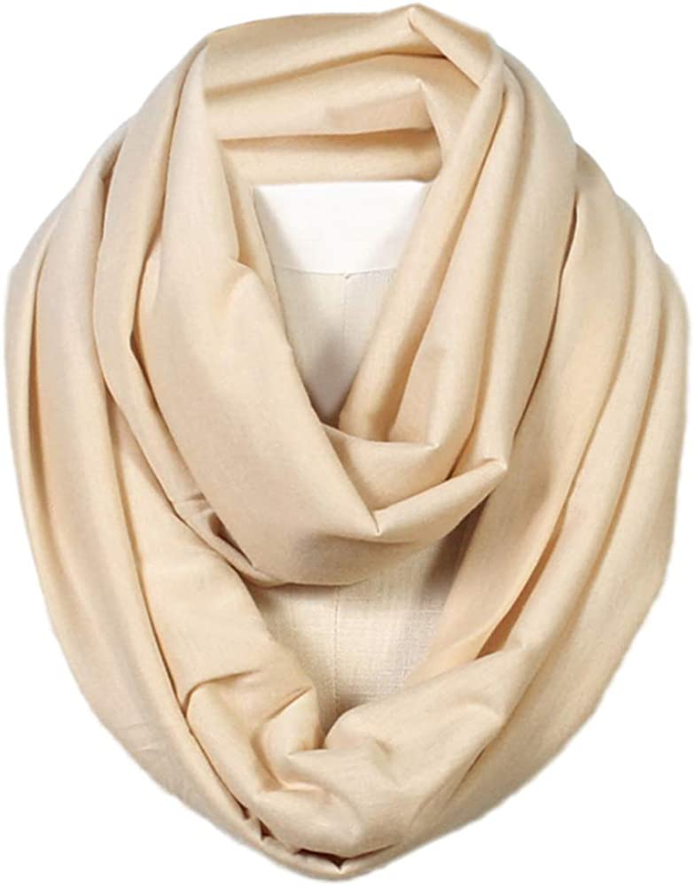2a1430ea0c52 Scarfand's Super Soft Light Weight Solid Color Infinity Loop Scarf (Beige)