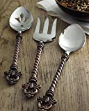 3 Piece Fleur De Lis Metal Hostess Serving Set