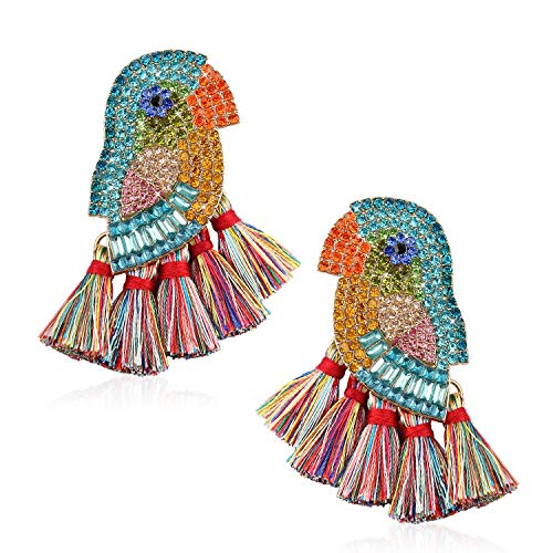 Rhinestone Tassel Statement Earrings for Women Handmade Colorful Diamante Bird Thread Drop Dangle Earrings Lightweight Bohemian Fringe Earrings Gifts for Girl Daily Party with Gift Box GUE148 Colorful (Earring Catching Jewelry Eye)