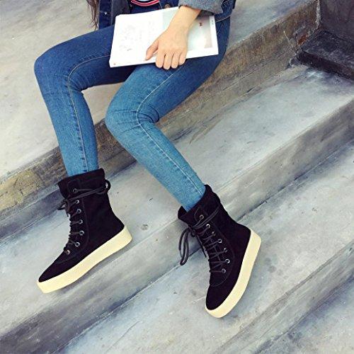 Botas Mujer,Ouneed ® Moda hecha a mano de invierno crepé inferior botas de las mujeres botas de temporada casual Negro