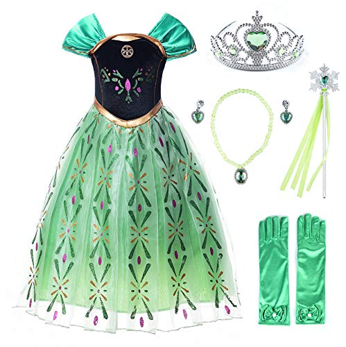 JerrisApparel Snow Party Dress Queen Costume Princess Cosplay Dress Up (6-7, Green Anna with Accessories)