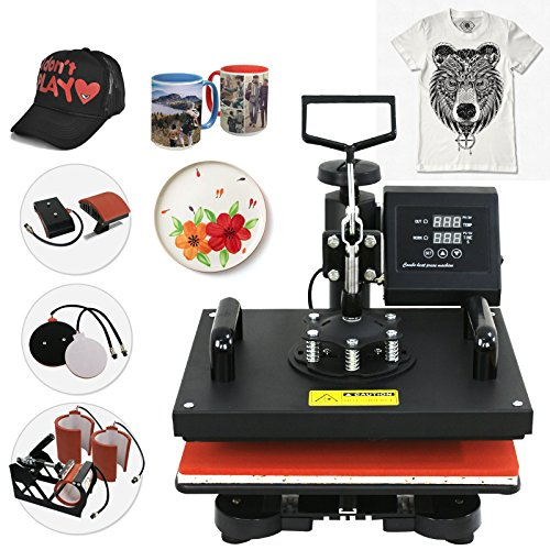 SUPER DEAL 6 in 1 Digital Swing Away Heat Press Clamshell Transfer Machine, T-shirts Heat Press + Mug Press + Cap/Hat Press + Plates Press