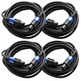 Seismic Audio - TW12S35 (Pack of 4) - 35 Foot Speakon to Speakon PA/DJ Speaker Cable - 2 Conductor - 12 Guage