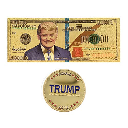 Best Quality - Gold Banknotes - One Million Dollar 24k Gold Banknote Collectible 45th US President Donald Trump Paper Money&commemorative Coin for Collections - by LA Moon's - 1 PCs