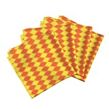 Ogee Orange Geometric Organic Sateen Dinner Napkins Solar Ogee by Robyriker Set of 4 Dinner Napkins