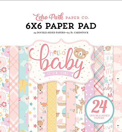 - Echo Park Paper Company Hello Baby Girl 6x6 Pad Paper Pink, Teal, Yellow, Purple, Orange