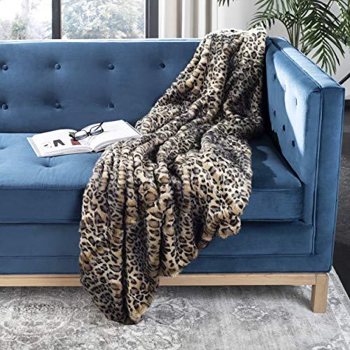 Safavieh Faux Black Leopard Throw Blanket,