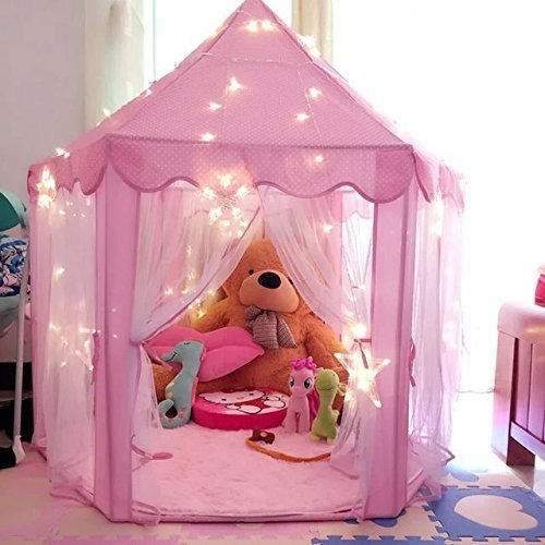 Pink Tent Princess House Castle Girls Playhouse Kids In/Outdoor Fairy Play Tent (Sale Cabana Beds For Outdoor)