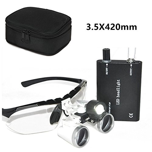 Denshine® Dental Surgical Medical Binocular Loupes Optical Glass Loupe 3.5x 420mm + Head Light Lamp +Carry bag - Dental Loupes Binocular