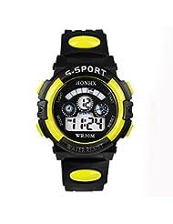 TOOPOOT® Waterproof Children Boy Digital LED Quartz Alarm Date Sports Wrist Watch (Yellow)