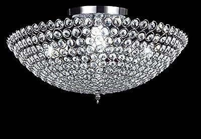 New Legend 3-light Bowl-shaped Chrome Finish Metal and Crystal Shade Crystal Chandelier Flush Mount Ceiling Light