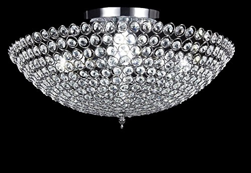 Top Lighting 3-light Bowl-shaped Chrome Finish Metal and Crystal Shade Crystal Chandelier Flush Mount Ceiling Light