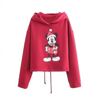 WGYSQCAO Sudaderas con Capucha Mujer Harajuku Estampado De Algodón De Dibujos Animados Mickey con Capucha Regular