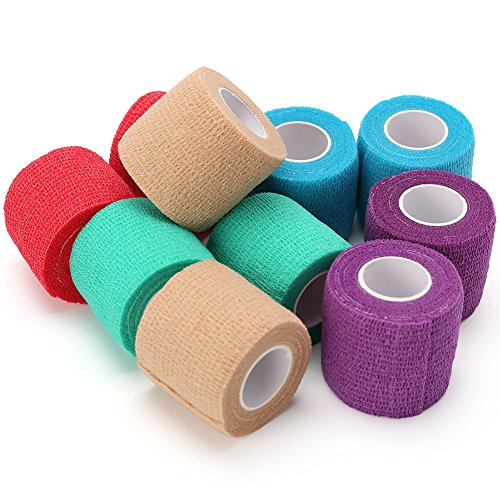 LotFancy Vet Wrap Bandages for Dog Pet Horse Cat Self Adherent Cohesive Tape, 10 Rolls, Assorted Colors, FDA Approved, 2 Inches x 5 Yards - Tail Wrap