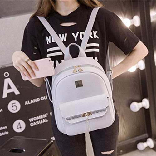 School Women's Backpack Rucksack Handbag Transer 2 New Gray Travel BR1WgBpq