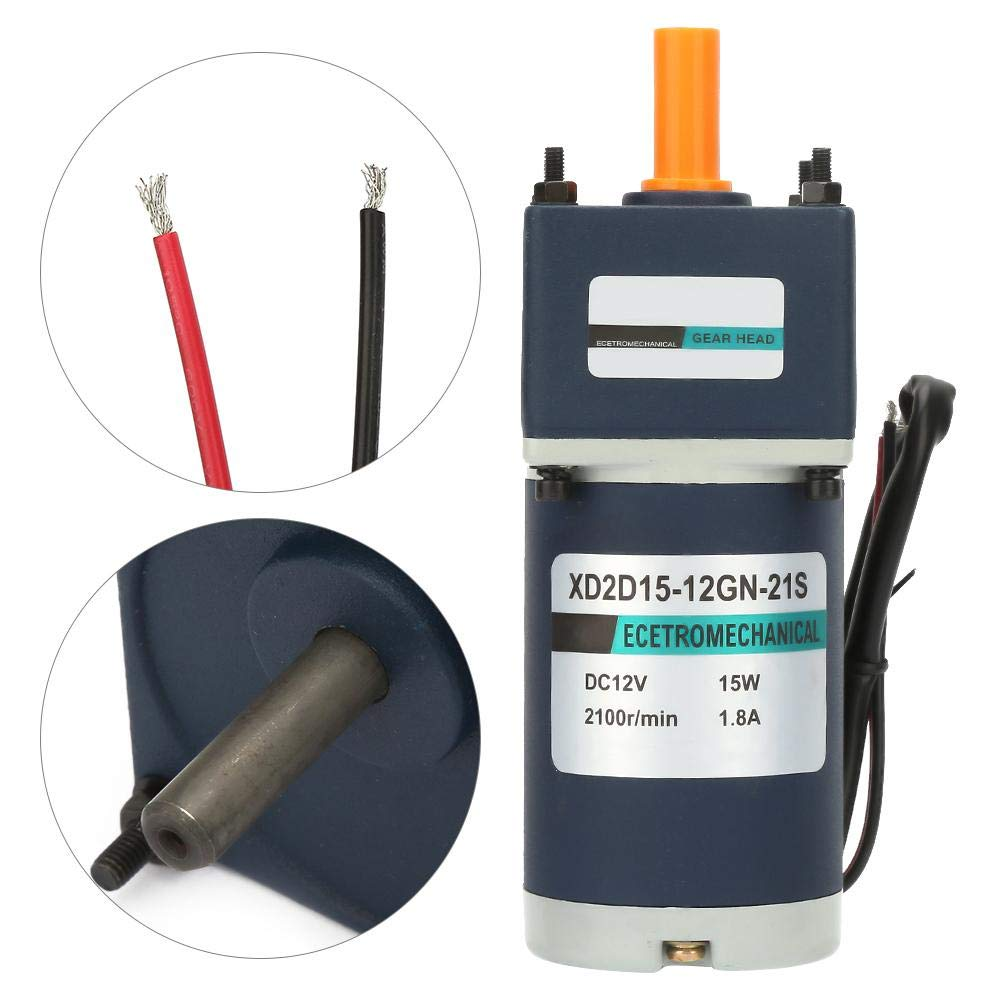 12V//15W Electric Permanent Magnet DC Gear Motor 1800//2100RPM Gears Reduction Geared Motor 50 Permanent Magnet Speed Reduction Motor