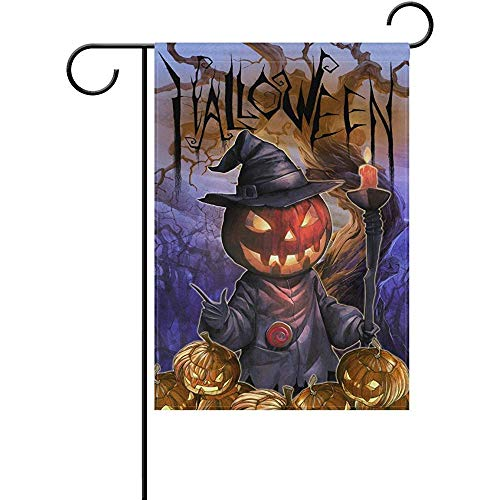 (SGBTJKU Premium Garden Flag 12 x 18 Inches Halloween Hand Drawn Jack O Lantern Men and Tree Polyester Garden Flag ES, Decorative Yard Flag for Party Home Outdoor)