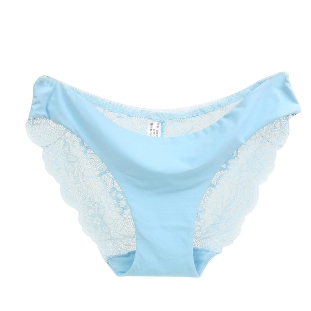 Challyhope Sexy Underpant, Womens Lace Hollow Panties Seamless Soft Low Waitst Briefs Underwear (M, Blue)