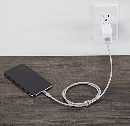 AmazonBasics Double Braided Nylon USB A to Lightning Compatible Cable, Advanced Collection - Apple Mfi Certified Silver 3-Foot (0.9 Meters) by AmazonBasics (Image #2)