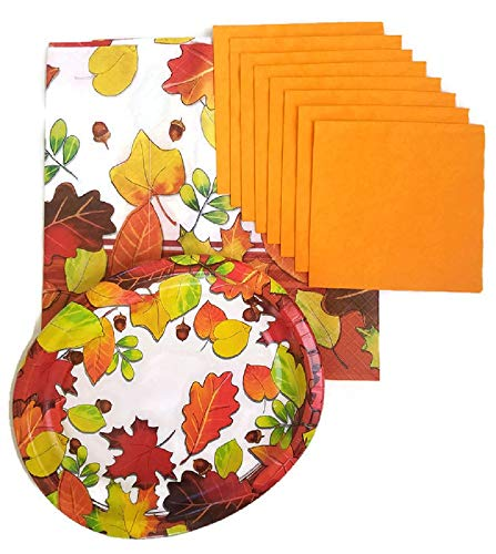 Thanksgiving Fall Harvest Leaves Party Supplies Paper Plate and Napkin Bundle of 3 Includes Oval Plates and Luncheon Napkins and Tablecloth- Service for 8