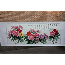 Flower Fairy Hand painted peony flower Oriental Ancient Asian Watercolor Painting Wall Decoration Father's Day Mother's Day Gift Home decor wall Four Feet Without wood frame peony Oriental Can be cust