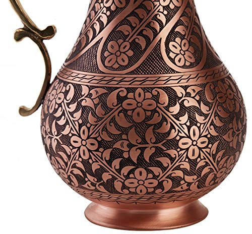 DEMMEX The Pitcher, 1mm Solid Copper Handmade Engraved Copper Pitcher Vessel Ayurveda Jug for Drinking Water, Moscow Mule, Cocktail (Matte-ArtWork) by DEMMEX (Image #3)