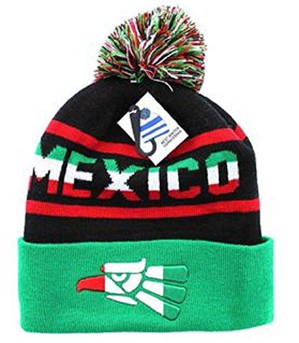 Artisan Owl Mexico Winter Knit Pom Pom Beanie Hat With Cuff  Green