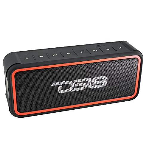 DS18 STORM-R FULLY Waterproof Portable Bluetooth Speaker 20W with Ultra HD Stereo Sound, Rich Bass, 10-Hour Playtime, 66ft Bluetooth Range, Built-In Mic, Perfect Wireless Speaker for iPhone or Samsung