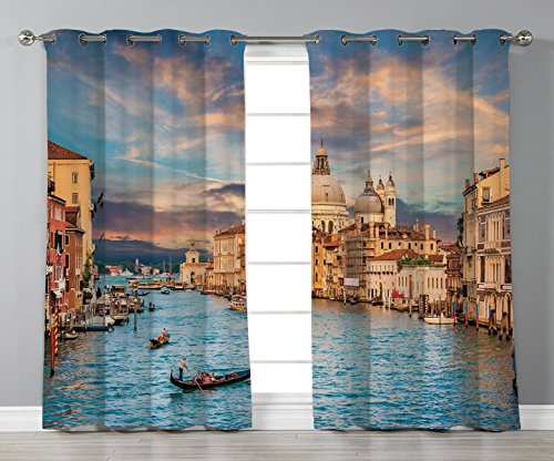 Curtains,Venice,Gondola on Famous Canal Grande with Basilica di Santa Maria della Salute in Evening,Blue Cream,2 Panel Set Window Drapes,for Living Room Bedroom Kitchen Cafe ()