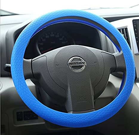 Lage Couvre-Volant pour Voiture en Silicone Universel diam/ètre 34/cm Volant Fiat Nissan Alfa Romeo Peugeot Renault Audi Ford Opel Citroen Hyundai Bleu