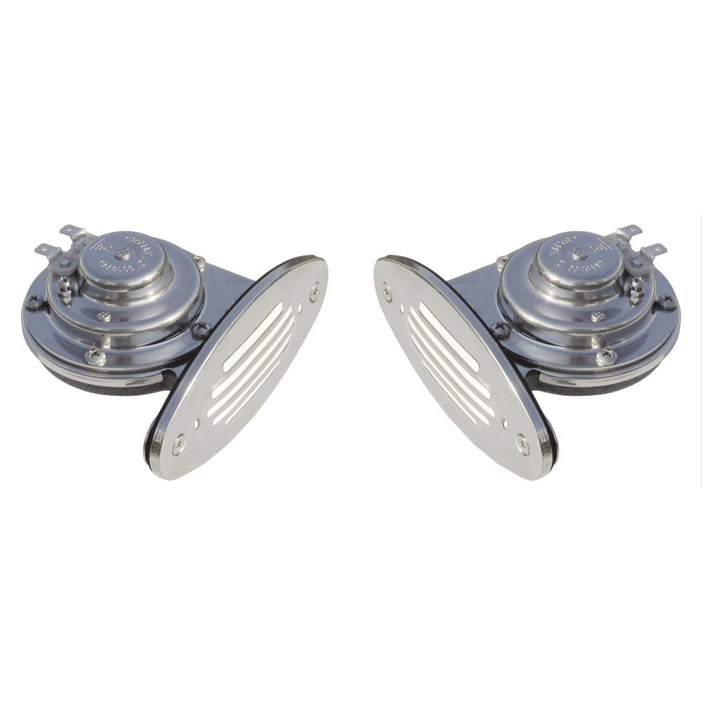 1 - Ongaro Mini Dual Drop-In Horn w/SS Grills High & Low Pitch by Schmitt & Ongaro Marine