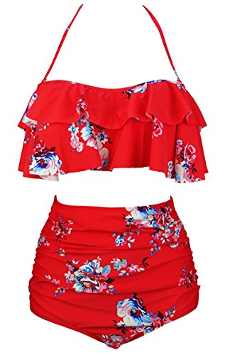 COCOSHIP Red & White & Jade Pink Garden Floral Retro Boho Flounce Falbala High Waist Bikini Set Chic Swimsuit Bathing Suit XXL