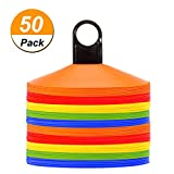 Disc Cones (Set of 50) Agility Soccer Cones with Holder for Training, Football, Kids, Sports, Field Cone Markers (50)