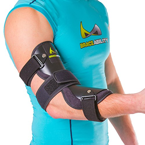 Tunnel Pain Cubital - BraceAbility Cubital Tunnel Syndrome Elbow Brace | Splint to Treat Pain from Ulnar Nerve Entrapment, Hyperextended Elbow Prevention and Post Surgery Arm Immobilizer - M (Medium/Large)