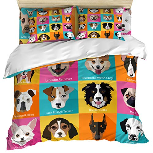 Kids 4 Piece Bedding Set Comforter Cover Duvet Cover Set Full Size, Pattern with Dogs Retro Popart Bulldog Hound Cartoon Art for Dog Lovers, Bedspread Daybed with Zipper Closure 2 Pillow Sham Cases