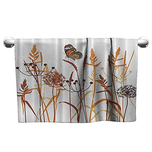 DUCKIL Personalized Hand Towels Dandelions Thistles Flower Leaf Seeds Bouquet Monarch Butterfly Wheat Field Wild Nature Art Decor Popular Bath Sheets 35 x 12 inch Orange and Brown