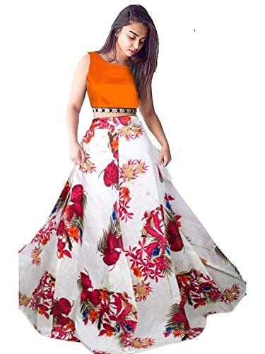Lehenga Choli Digital Print Lengha Skirt Women's Ethnic Wedding Party Wear (Orange)