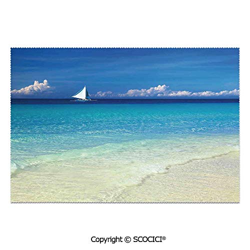 SCOCICI Set of 6 Printed Dinner Placemats Washable Fabric Placemats Exotic Tropic Beach in Philippines Island Horizon Summer Paradise Concept for Dining Room Kitchen Table Decoration (Rattan Furniture Philippines Outdoor)